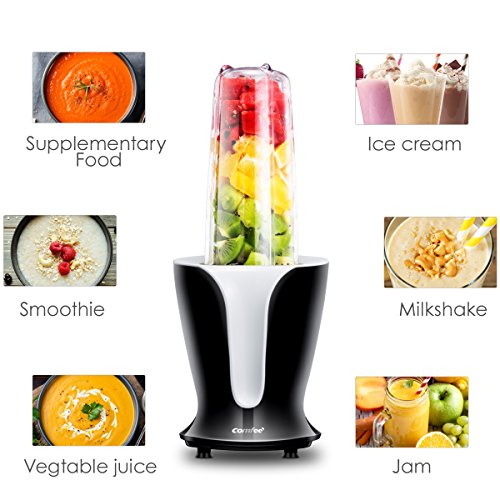 Mixer Grinder, Smoothie Blender, Personal Shakes Blender, 18000RPM High Speed Motor, Detachable Blade, 4 Tritan Travel Cups 32oz/24oz/18oz/12oz, 900W by Comfee by COMFEE' (Image #1)