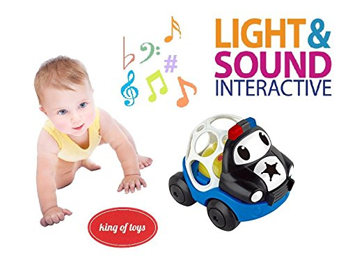 King of Toys Baby Rattle and Sensory Teether police car Cartoon Car Toy for Kids Music and Colorful Lights and Soft Activity ()