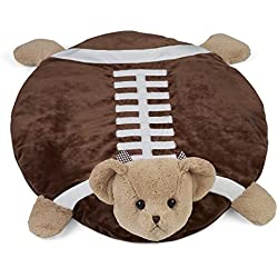 "Bearington Tuchdown Football Teddy Bear Belly Blanket, Baby Mat, Tummy Time Mat 30"" x 30"""