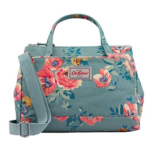 Kidston Birds Cath - Cath Kidston Matt Oilcloth Mini Multi Pocket Handbag With Crossbody Strap Windflower Bunch Soft Teal