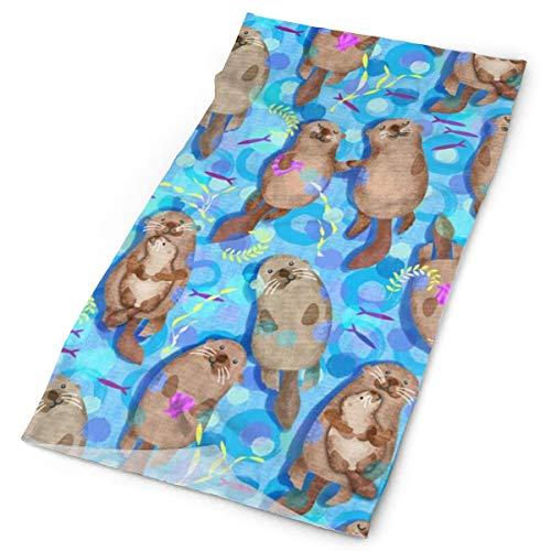 Sweet Playful Swimming Sea Otters Multifunctional Magic Headwear 12-in-1 Men&Women Tube Scarf Facemask Headbands Neck Gaiter Bandana Balaclava Helmet for Outdoor Running Yoga Work Out