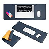 Extended Mouse Pad, Insten Double-Sided Leather Mouse Pad Extra Long Foldable Mouse Mat, Ultra Smooth Surface, Waterproof Design, Easy Storage for PC Desktop Gaming, Navy/Yellow - 32'' X 12''
