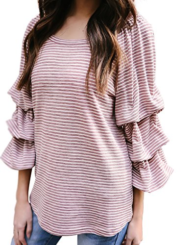 Sleeve Cotton Shirt Short Striped Ruffle - Yissang 3/4 Cascading Heap Sleeve Striped T Shirt Back Bow Tunic Tops for Women Pink Large
