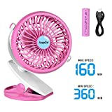 AsapGot Mini Battery Operated Clip Fan, Portable Table Fan Powered by 2600mAh Rechargeable Battery or USB, Quiet and Powerful Desk Personal Fan for Baby Stroller Car Gym Camping (Pink)