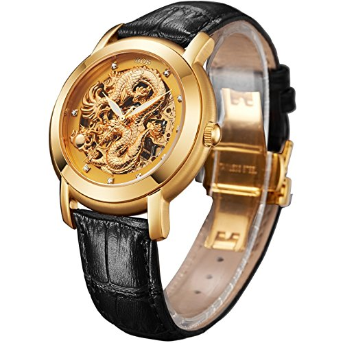 BOS Men's Automatic Mechanical Luxury Watch Rose Gold Case Skeleton Carved Dragon Dial 9007G
