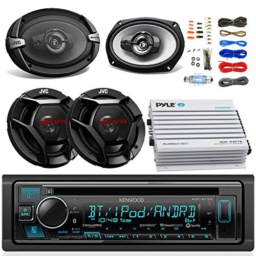 Kenwood KDCBT33 Car CD Player Receiver Bluetooth USB AUX Radio - Bundle Combo w/ 2X JVC 6x9 3-Way Vehicle Coaxial Speakers + 2X 6.5 Inch 2-Way Audio Speakers + 4-Channel Amplifier +Amp Kit