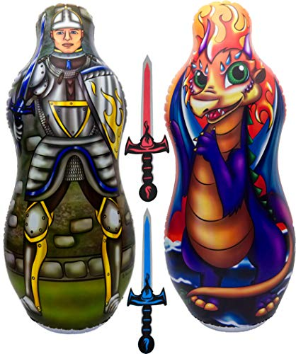 ImpiriLux Inflatable Punching Bag & Foam Sword Set | One 48 Tall Double Side Bop Bag (Knight on One Side & Dragon on Reverse Side) and Two Soft Swords | Great Gift of Kids, Birthdays, Christmas