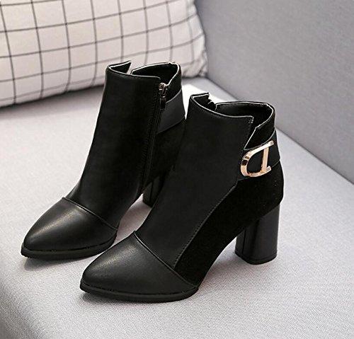 Et Khskx Hiver High Pointe De heeled Baril Bottes Bas automne La Courtes Velours Épais Chaussures 35 Nouvelle Femmes SqqcW1Hr5