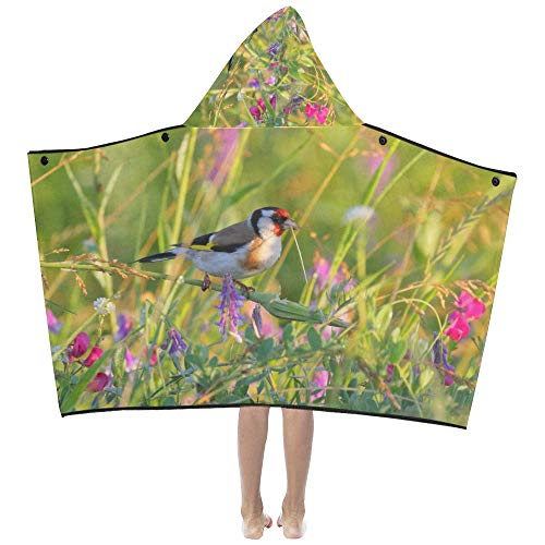 European Goldfinch Carduelis Bird Soft Warm Cotton Blended Kids Dress Up Hooded Wearable Blanket Bath Towels Throw Wrap for Toddlers Child Girls Boys Size Home Travel Picnic Sleep Gifts Beach