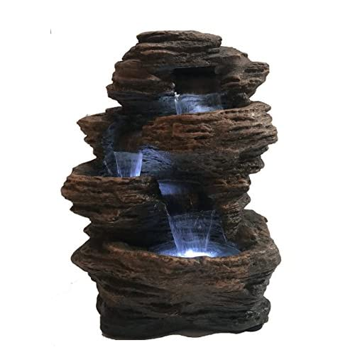 "Major-Q 96102 Decoration Feng Shui Rock Like Waterfall Fountain with LED Light, 14"" H"