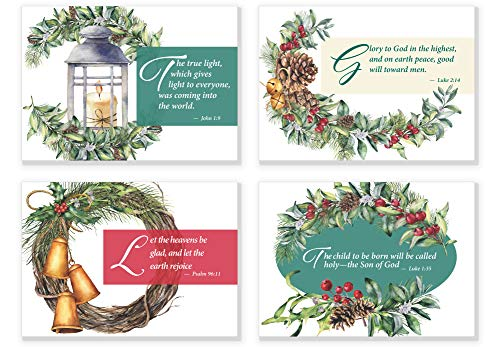 24 Pack Religious Christmas Bible Verse Note Cards | 4 Unique Water Color Designs | Double Sided Scripture Christmas Cards & Envelopes (Design Graphic Inspiration Card Christmas)