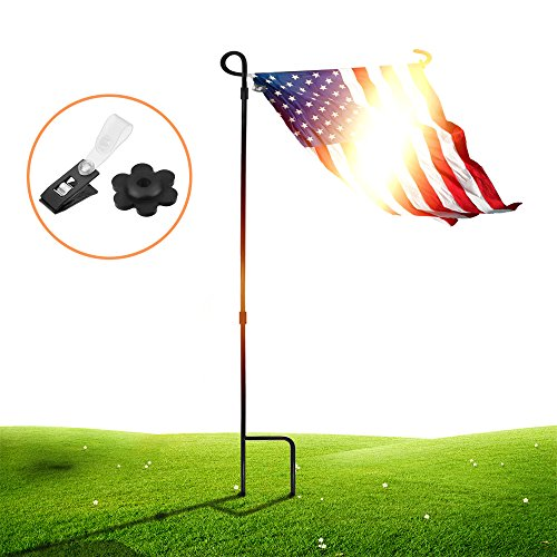 Metal Garden Flag Stand - SSRIVER Garden Flag Stand Pole Holder with Garden Flag Stopper and Anti-Wind Clip 36.22