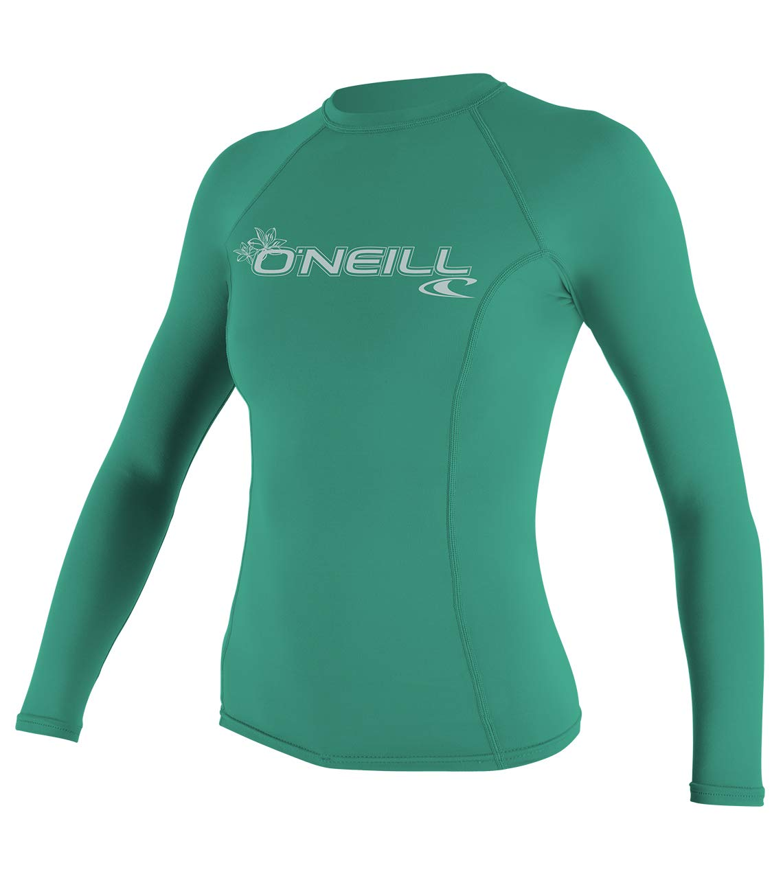 O'Neill UV 50+ Sun Protection Womens Basic Skins Long Sleeve Crew Sun Shirt Rash Guard, Seaglass, X-Large by O'Neill Wetsuits