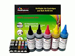 PrintPayLess Brand Refillable Ink Cartridges for Canon PGI-225 CLI-226(non-OEM) with Auto Reset Chips (ARC): PIXMA MG5120, PIXMA MG5220, PIXMA MG5320, PIXMA MX882, PIXMA iP4820, PIXMA iP4920, PIXMA iX6520 (Pre-Filled 5 packs) + 500ml (16.7 oz.) PrintPayLess Brand UV resistant Bulk Refill Ink, Special-Formulated for Canon
