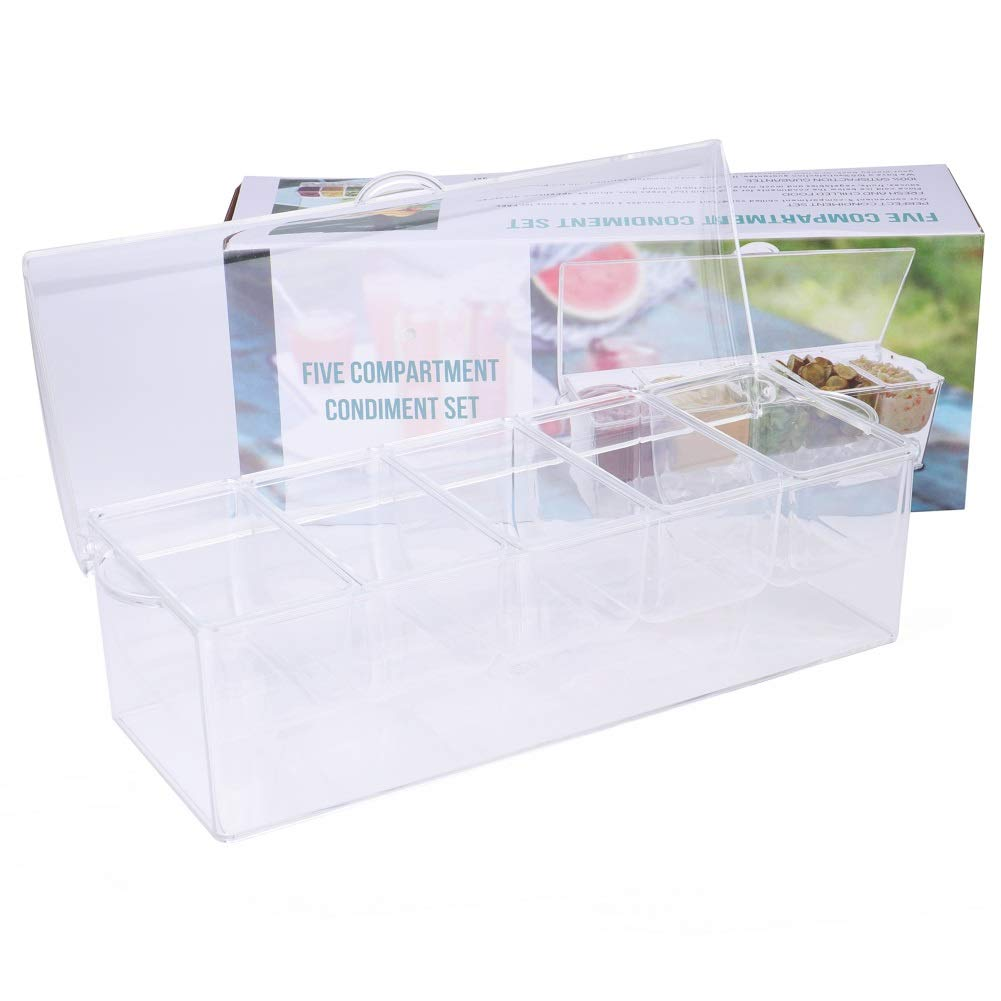 Tebery Chilled Condiment Server With Lid and 5 Removable Compartments