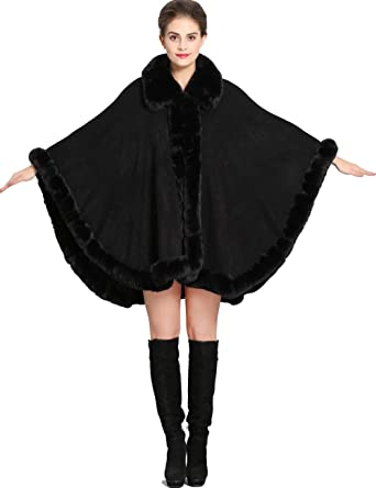 Aphratti Women s Wrap Shawl Cape Coat with Luxury Faux Rex Rabbit Fur  Collar Without Arm Slits bb2f4e982