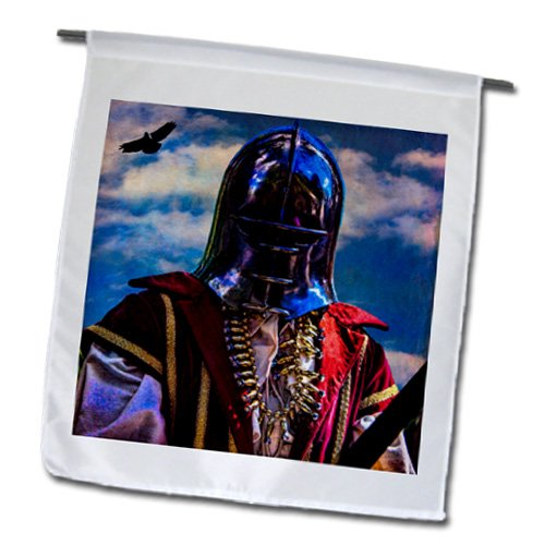 Chris Lord Humanoids - Man Iron Mask Knight Helmet - 18 x 27 inch Garden Flag (fl_123826_2)
