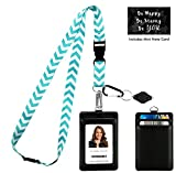Chevron in Tiffany Blue Print Lanyard with PU Leather ID Badge Holder Wallet with 3 Card Pockets, Safety Breakaway Clip, Note Card. Gift of Carabiner Keychain Flashlight. Lanyard for Cruise or Work