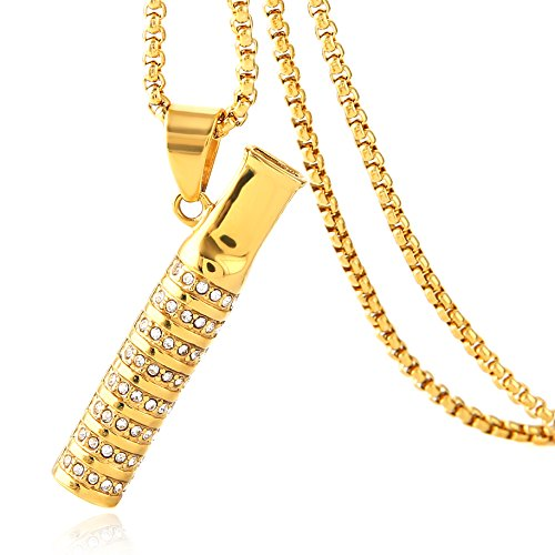HZMAN Mens 18k Gold Plated Iced Out Cigarette Holder Stainless Steel CZ Pendant Hip Hop Necklace ()