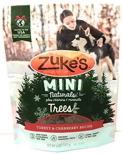 (Zuke's Mini Naturals Trees Holiday Dog Training Treat, Wheat Free, Turkey & Cranberry Recipe, 5 oz Pouch)