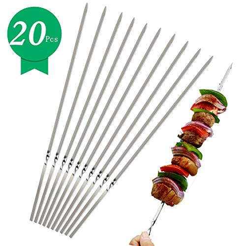 iValley Kabob Skewers(Set of 20), Stainless Steel BBQ Barbecue Skewers Set - 14