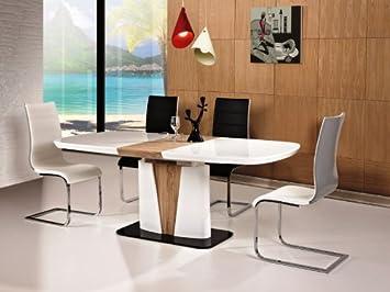 Säulentisch Holz hochglanz weiß esstisch cangas 90x160x75 ausziehbar auf 200cm