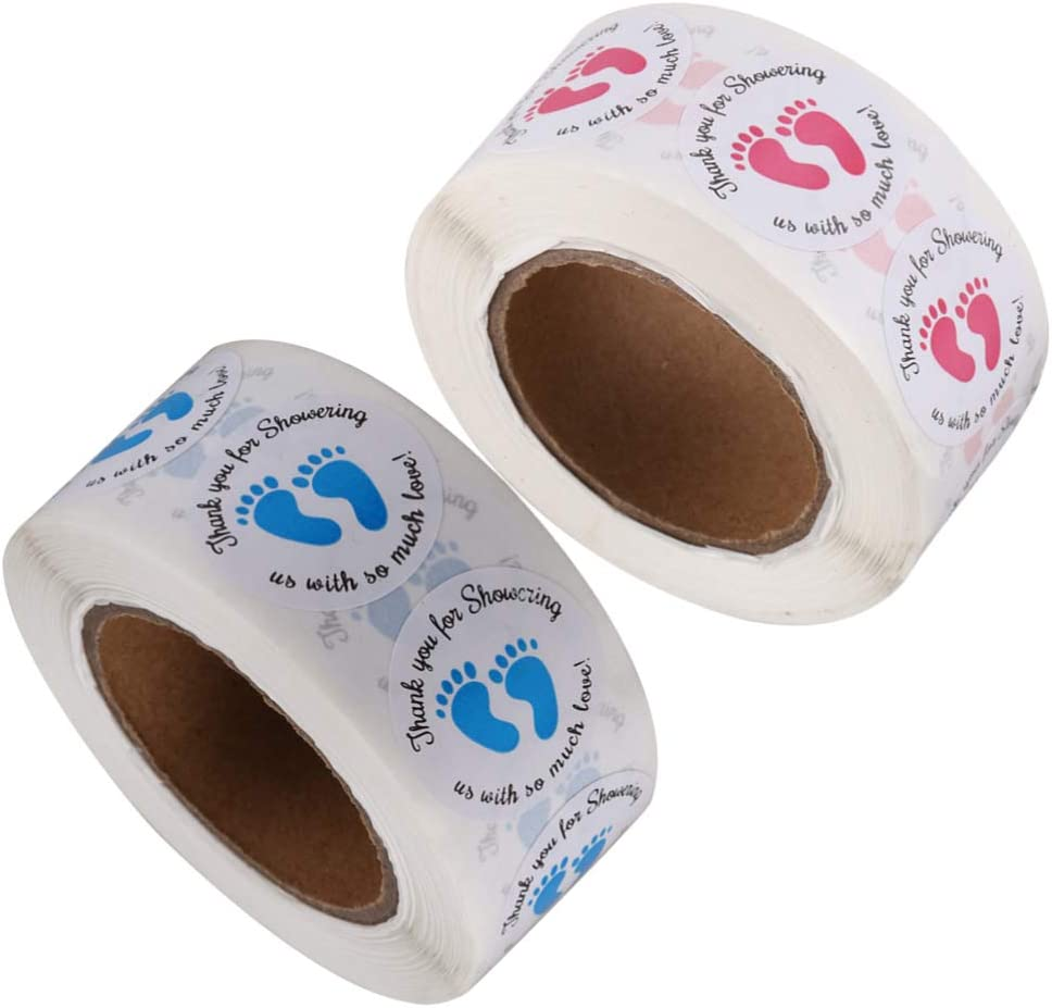 STOBOK 2 Piezas Pegatinas de Baby Shower Gracias Pegatina de Regalo Etiqueta de Huella Infantil Decoraci/ón de Fiesta de Baby Shower