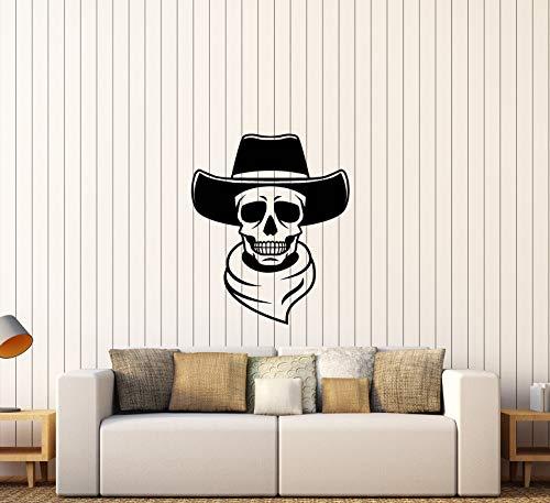 Vinyl Wall Decal Western Cowboy Hat Skull Wild West Stickers -