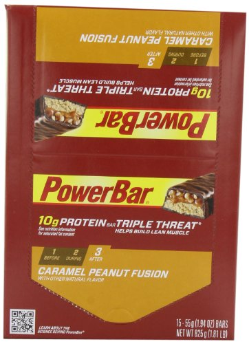 PowerBar Protein Triple Threat 10g, caramel et arachides Fusion, Bars 1,94 once (Pack de 15)
