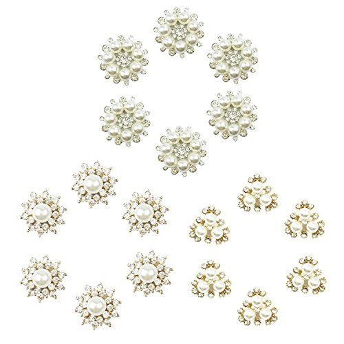 18 Counts Faux Pearl Rhinestone Buttons, Craft Pearl Flower Embellishments Decorative Clasp for Brooch Headband Garment, 3 different Patterns, by (Pearl Flower Button)