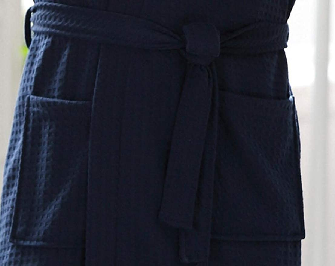 GenericMen Summer All-Match Belt Pure Color Pockets Thin Lounge Robe