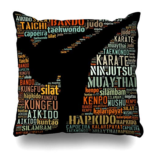 Ahawoso Throw Pillow Cover Taekwondo School Eastern Martial Arts Text Graphics Fighting Champion Collage Competition Course Home Decor Pillowcase Square Size 18