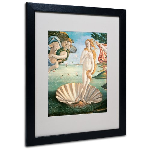 Trademark Fine Art Birth of Venus 1484 by Sandro Botticelli with Black Frame Artwork, 16 by 20-Inch (Venus God Of Love)