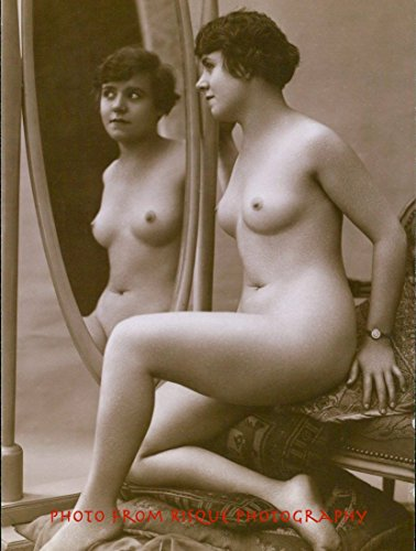 "Nude Woman with Bent Knee In Front of Oval Mirror 8.5x11"" Photo Print Erotic Naked Female"