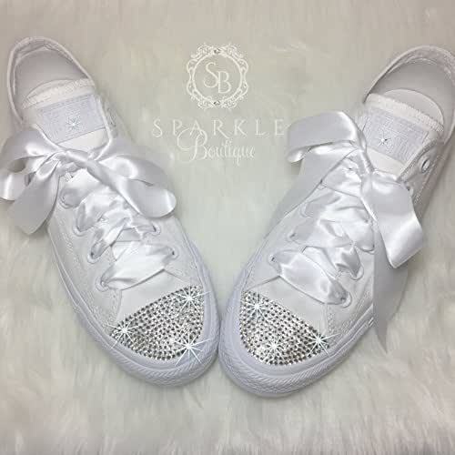 0d8455c3b651f9 Amazon.com  CUSTOM Wedding Shoe Bling Chucks Swarovski Wedding Shoes ...