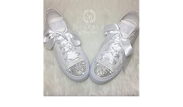 bb88c845e36 Amazon.com  CUSTOM Wedding Shoe Bling Chucks Swarovski Wedding Shoes Custom Glitter  Sparkle All Stars with Crystals for the Bride - Quinceañera - Prom Shoes ...