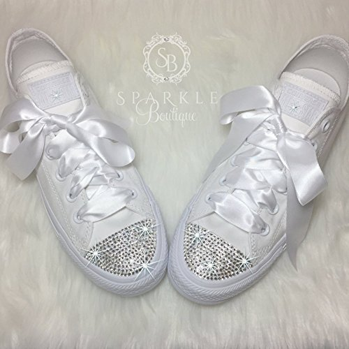 8d09bdf72aeec3 CUSTOM Wedding Shoe Bling Chucks Swarovski Wedding Shoes Custom Glitter  Sparkle All Stars with Crystals for the Bride - Quinceañera - Prom Shoes By  ...