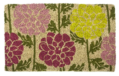 Entryways Dahlias Handmade, Hand-Stenciled, All-Natural Coconut Fiber Coir Doormat 18