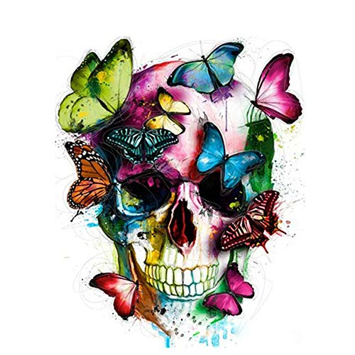 DIY Oil Painting Paint by Number Kit for Adult Kids -Butterfly Sugar Flower Skull,16X20 Inch ()