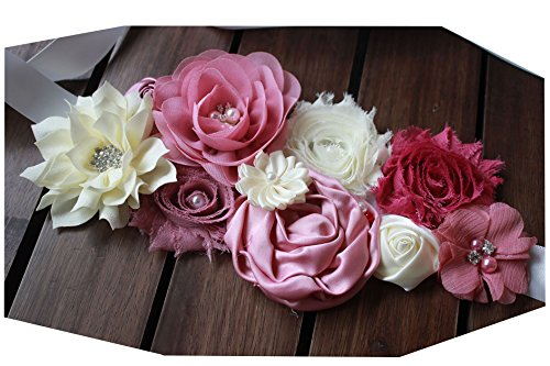 Maternity pregnancy sash for Mon to be baby shower sash flower sash (Dusty pink) ()