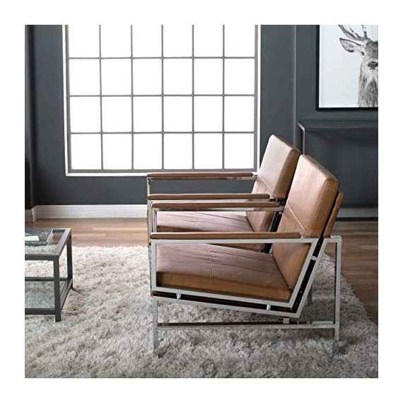 "Studio Designs Home Modern Atlas Accent Chair for Living Room Bedroom, Bonded Leather, Carmel, 72004 - Overall Dimensions: 29.75"" W x 32"" D x 33"" H Seat: 26.25"" W x 23.25"" D x 16.5"" H (floor to seat) Modern Chair: Durable and Attractive Bonded Leather, Sleek Chrome Frame - living-room-furniture, living-room, accent-chairs - 51hgwc4O3jL. SS570  -"