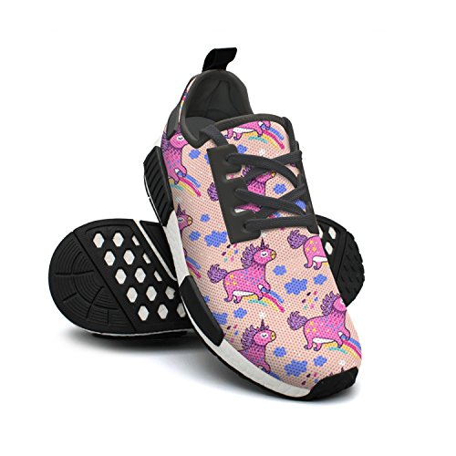 Pink Rainbows Shoes Unicorns Cute Fashion FAAERD Mesh Walking Lightweight Cool Sneakers Womens Cartoon Shoes Breathable xHTgIan