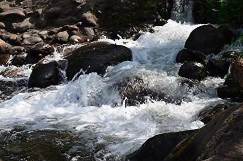 (Quality Prints - Laminated 36x24 Vibrant Durable Photo Poster - Waterfall Rocks Water Nature Rock Natural Stream Cascade Spring Stone Flowing Motion Scenery Fresh Scenic Creek Outdoors Splash)