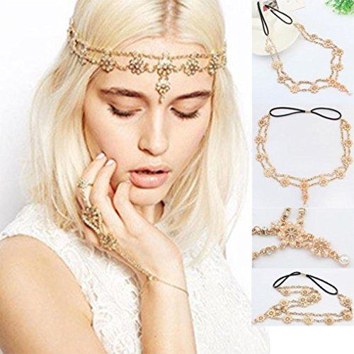 Baishitop Tassel Flower Stretch Headband, Crystal Golden Hair Chain (Cleopatra Headpiece Diy)