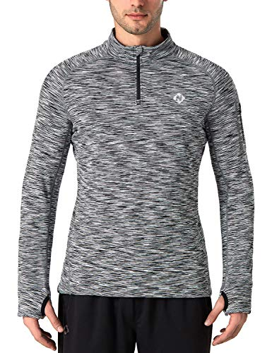 - NAVISKIN Men's 1/4 Zip Pullover Thermal Thumbholes Running Long Sleeve Shirts Workout Outdoor Tops Grey Size XXL