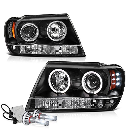 VIPMOTOZ LED Halo Ring Black Projector Headlight Lamp Assembly For 1999-2004 Jeep Grand Cherokee - Built-In CSP LED Low Beam, Driver & Passenger Side ()