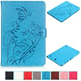 Galaxy Tab A 9.7 Case-UUcovers Embossed Synthetic Leather Butterfly&Flower Pure Color Series *Magnetic Closure* Stand Case *Cards/Cash Holder* Cover for Samsung Galaxy Model SM-T550/P550-Blue