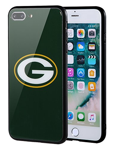 Plus Bay - Sportula NFL Phone Case - 9H Tempered Glass Back Cover and Silicone Rubber Bumper Frame Compatible Apple iPhone 8 Plus / 7 Plus (Green Bay Packers)