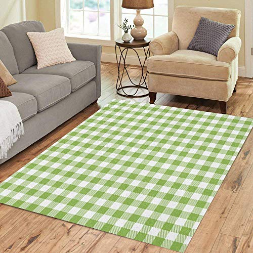 Pinbeam Area Rug Green Gingham and Buffalo Check Plaid Pattern Tablecloths Home Decor Floor Rug 3' x 5' Carpet