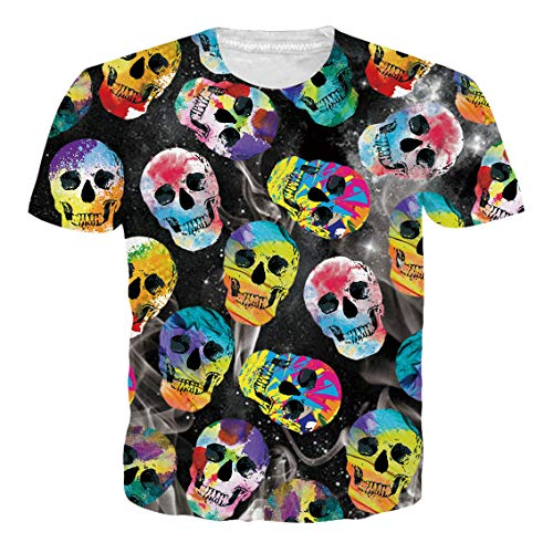 (RAISEVERN Unisex T Shirt 3D Active Lifelike Colorful Cartoon Skull Sportswear Personalized Crew Neck Short Sleeve)